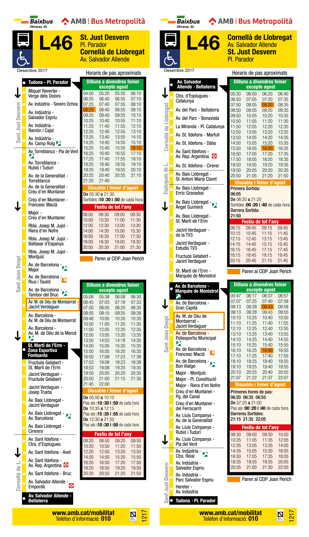 Linea autobus l46 baixbus for Oficinas mercadona barcelona